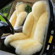 Brand New 1 Piece Genuine Sheepskin Long Wool Front Car Seat Cover Beige ZH03