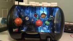 DIY solar system project - no link; Eye screws & bouncy balls. Splatter glue in the dark paint for stars.                                                                                                                                                      Más