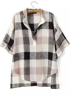 Black Plaid Print Short Sleeve Casual Blouse