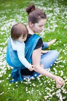 Paisley Quatro Blue Ellevill Wraparound Baby Carrier. 100% cotton @ wrapyourbaby