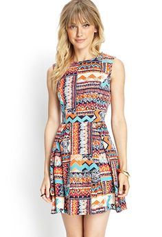 Love 21 - A sleeveless woven dress featuring a tribal print and a flared skirt. . Unlined. 100% pol...