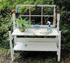 Twin headboard potting bench, for the garden!