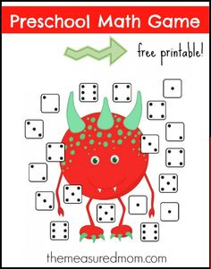 Free Preschool Math Game: Monster Dice Match.  Use a numbered die and match to the correct number of dots on the board.
