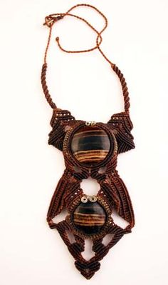 Necklace | Black Pacha.  Stalactite stones from Peru and natural brown macrame.