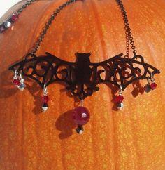 On #Sale! 25% off with code Halloween25 #Bat #Necklace #Ruby #Garnet and #Swarovski #Crystal by OsbornJewelryGaias