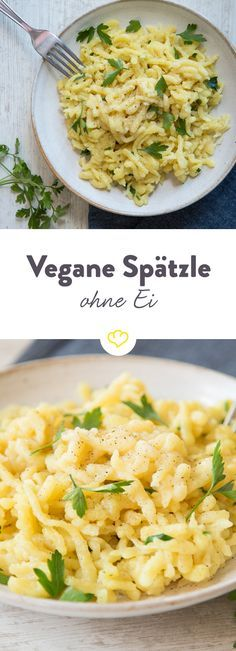 Schwäbische Nudelbeilage ohne Ei und Milch: Spätzle werden mit Öl statt Ei und Sprudelwasser statt Milch zur Alternative für vegane Nudelliebhaber.