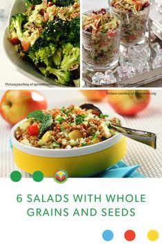Salads with whole grains and seeds! Make fantastic salads full of lentils beans wild rice and whole grains. Oats Recipes, Fruit Recipes, Pork Recipes, Vegetable Recipes, Dairy Recipes, Chickpea Recipes, Vegetarian Recipes, Mushroom Recipes, Barley Recipes