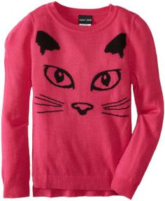 Paperdoll Girls Boxy High Low Sweater with Intarsia Cat Face