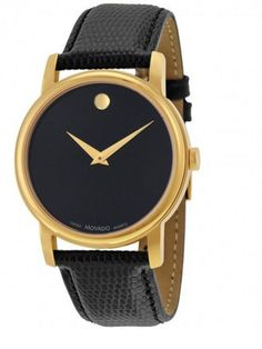 6540473aeea5 New Movado Museum Black Dial Black Leather Mens Watch 2100005
