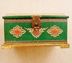 Vintage tin plate French treasure box candy container