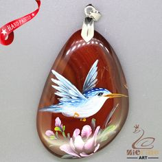 JEWELRY NECKLACE HAND PAINTED HUMMINGBIRD GEMSTONE PENDANT BEAD ZL8011186 #ZL…