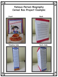 Student Examples Of A Cereal Box Biography Book Report  Reading
