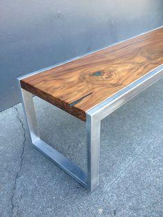 Modern mild steel solid Black Walnut coffee table. Handcrafted