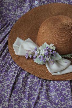The Little Purple Cottage on Lilac Lane Etiquette Vintage, Lavender Cottage, Bonnet Hat, Purple Garden, Happy Birthday Messages, Pansies, Lilacs, Summer Hats, Silk Flowers
