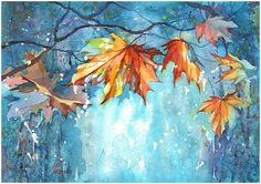 watercolor, 30 x 40 cm., 2014 And whether the summer? Watercolor Canvas, Watercolor Artists, Watercolor Landscape, Watercolor Flowers, Drawing Projects, Art Projects, Autumn Illustration, Nature Drawing, Abstract Nature