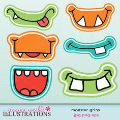 For the Kids - Monster Grins, Cute Printable Birthday Party by JWIllustrations