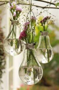 I want to try this because it looks really pretty. I love the idea of the nature being combined with the man-made. This would be fun activity to relax me and just to have fun. What is needed: old light bulbs, water, string, and flowers.