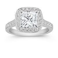 Halo Diamond Engagement Ring -- HOLY MOLY!! Love it!