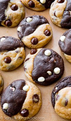 Soft-baked and completely irresistible chocolate chip cookies swirled with chocolate white chocolate cookies! sallysbakingaddiction.com