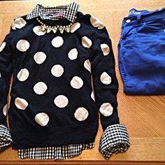 Polka dot sweater, black gingham shirt, cobalt jeans.