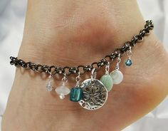 Anklet, Ankle Bracelet, Sanddollar Anklet, Chain Anklet, Sea Shell Anklet Blue Anklet, Beach Anklet Beach Jewelry Ankle Jewelry Foot Jewelry