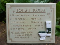 Toilet Rules Shabby Wooden Hanging Decorative Wall Sign Chic Funny Novelty Gift