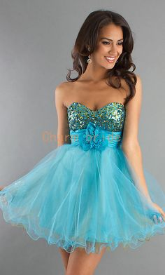 cute short blue prom dresses with sequins by Charmbride