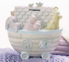 Grasslands Road Noah's Ark Shaped Bank, Gloss Ceramic, 7 by 4 by 6 Christening Gifts For Boys, Baptism Gifts, Keepsake Baby Gifts, Money Bank, This Little Piggy, Christian Gifts, Cool Baby Stuff, Mom And Baby, Baby Boy Shower