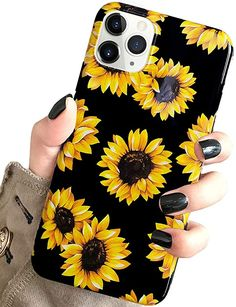 west Case for New iPhone 11 Pro Vintage Floral Cute Yellow Sunflowers Black Soft Cover for Girls/Women Flexible Silicone Slim Fashion Design Pattern Drop Protective Case for iPhone 11 Pro inch Cute Ipad Cases, Girly Phone Cases, Cute Cases, Diy Phone Case, Iphone Phone Cases, Iphone 11, Sunflower Clothing, Eyebrows Sketch, Relaxed Outfit