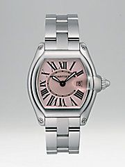 The Roadster watch is inspired by the world of 1950's car racing.  The streamlined dial of the steel case is a trademark of the era, while the sword-shaped luminescent hands, Roman numerals and sapphire crystal are signature Cartier features.  Adorned with a pink satin-finish dial. Cartier Roadster pink dial stainless steel bracelet watch, small $5,400.