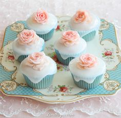 Dainty Cupcakes sweet pretty rose cupcake dessert decorate rosebuds