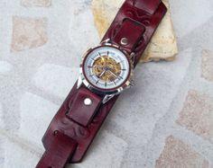 Reloj de cuero de mens derecha reloj reloj por Jullyetcreations