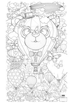 Free coloring page «coloring-adult-hot-air-balloon-zen-anti-stress-to-print».