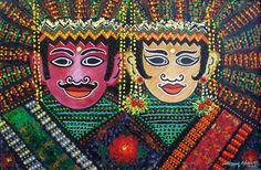 """Ondel-ondel"" Artis : Herry Ashari Material : Acrylic on canvas Size : 70 x 90 cm Dutch East Indies, Map Wallpaper, Cellphone Wallpaper, Best Games, Jakarta, Canvas Size, Culture, Gallery, Artist"