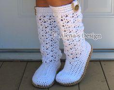 Crochet Boot Pattern Crochet Pattern 138 Elegant Women's Boots Ladies Crochet White Slippers Pattern Lace Boots Winter Christmas Gift