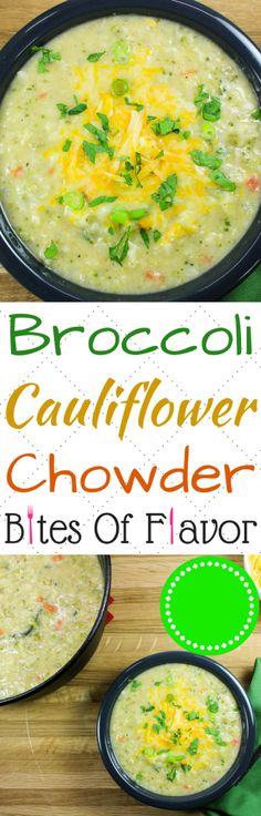 Broccoli Cauliflower Chowder-Thick & hearty soup for a cold day. Creamy soup with fresh & perfectly cooked veggies make the perfect bowl of comfort food. Freezer friendly & made in less than 1 hour! Weight Watcher friendly (7 SmartPoints).
