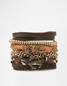 ASOS Leather Bracelet Pack With Anchor And Gold Beads