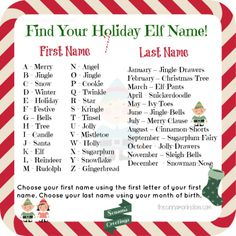 Find your holiday elf name generator Christmas Elf Names, Elf Christmas Decorations, Christmas Party Games, 12 Days Of Christmas, Christmas Activities, Family Christmas, Christmas Humor, Holiday Fun, Christmas Holidays