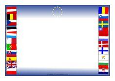 European Flags Page Borders - SparkleBox Flag Of Europe, European Flags, Page Borders, Free Teaching Resources, Garlands, Preschool Activities, Flyers, Giveaways, Dan