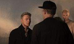 David Bowie talking to the music director Johan Renck on the set for the music video Blackstar.