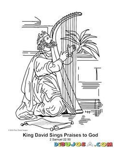 pintar dibujo de david con el arpa   COLOREAR BIBLICOS   dibujo para colorear a rey David cantando a Dios   dibujosa.com