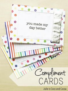 Make someone's day brighter with these DIY Compliment Cards. Free printable