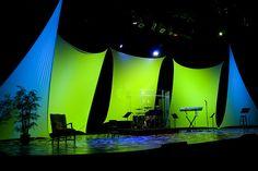 stage design #splats #uplights #tech #green #blue