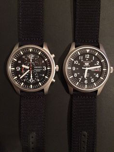 Seiko SNDA57 on left and Seiko 5 SNZG15 J1 (Japan Version) Automatic on right. Both are 42mm and both use a 22mm strap.