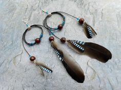 Earrings Blue Jay wing feather / handmade leather bohemian tribal boho gypsy ladies fashion jewelery / unique Indian homemade jewelry
