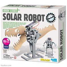 4M Green Science Solar Robot - Toysmith - Pack of 6 kits - Toydoo.com - Learn how to make a moving robot using solar panels and a motor. Assemble your robot from the included parts and teach it to do simple tasks. Made by 4M - Toysmith. Pack of 6 kits.