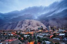 The biggest dust storm in living memory rolls into Phoenix on July 5, 2011, reducing visibility to zero. Desert thunderstorms kicked up the mile-high wall of dust and sand. Photograph by Daniel Bryant
