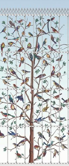 Panneau Uccelli Fornasetti - Cole and Son Cole And Son Wallpaper, Bird Wallpaper, Wallpaper Online, Wallpaper Panels, Pattern Wallpaper, Feature Wallpaper, Kitchen Wallpaper, Wallpaper Decor, Designer Wallpaper