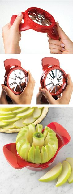 Core and slice apples comfortably into 16/8 pieces in seconds. Place it over the apple, push down and get the apple into perfect 16/8 pieces. The blades are made from stainless steel and even stay sharp after using a long time. You can also use it for dividing pears. Price $9.80