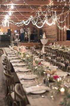 Long farm tables perfect for a western theme wedding.  Source: Jeremia and Rachel.   #westerntheme #barnwedding #reception